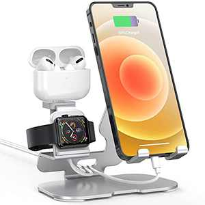 HoRiMe 3 in 1 Charging Stand Compatible with iPhone Stand,iPad, iWatch Series 6/5/4/3/2/1/SE, AirPods Pro/2/1 and iPhone 12 Pro Max/12/11/X/8/ 8P/7/7P/6S and More(Charger & Cables Required) Silver