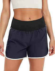 SPECIALMAGIC Athletic Shorts for Women Quick-Dry High Waist Loose Fit Casual Summer Yoga Hiking Fitness Running Workout Shorts with Pockets Navy Blue S