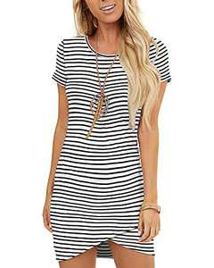 GOORY Women's Casual T Shirt Dresses for Women Bodycon Ruched Summer Short Sleeve Mini Party Dress, Black White Striped L