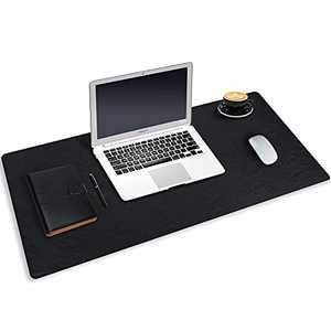 """Huge Desk Pad Mouse Pad, 31.5""""x15.7"""" Large Gaming Mouse Pad, PU Leather Desk Keyboard Pad, Nonslip Desk Pad Protector, Laptop Desk Blotter Writing Mat for Office Work/Home/Table/Gaming/Decor Black"""