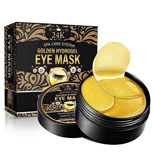 Under Eye Patches, 24K Gold Collagen Under Eye Mask, Anti-Aging Eye Pads for Puffy Eyes, Eye Bags & Dark Circles, Moisturizing Improve Elasticity 30 Pairs