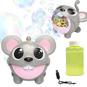 Automatic Electric Bubble machine,USB Rechargeable Portable Bubble Maker with Bubble Solution & 7 Bubble Wands,Fun Cute Cartoon Mouse Bubble Blower Blowing Toy Gift for Party Birthday Indoor Outdoor