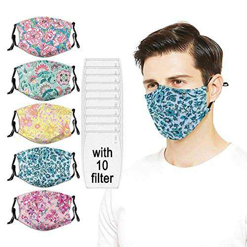 5PC with 10 Filters Face Mask Pretty Posies Pink Bright Ve-ra Brad-ley Washable Reusable For Men Women Adjustable Made in USA