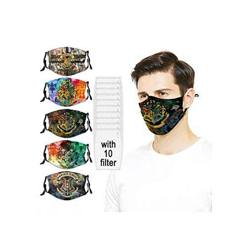 5PC with 10 Filters Face Mask Harry Pot-ter Hog-warts College The Elder Wand Dea-thly Washable Reusable For Men Women Adjustable Made in USA