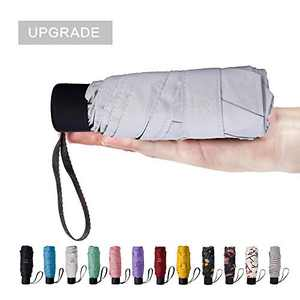 NOOFORMER mini Travel sun&rain Umbrella - Lightweight Compact Parasol Umbrellas with 95% UV Protection for Men Women Multiple Colors