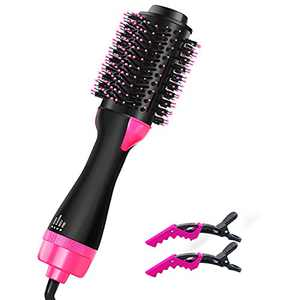 HANXA Hair Dryer Brush, One Step Hair Dryer and Volumizer, 4-in-1 Negative Ions Hot Air Brush with 2pcs Hair Clips Multifunctional Rotating Blow Dry Brush for Drying Styling Straightening Curling