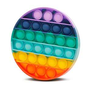 Push Pop Bubble Fidget Sensory Toys a Loud Side and a Quiet Side to Pop Autism ADHD Special Needs Stress Reliever Silicone Squeeze Toy Tactile Logic Game, Great for Kids and Adults (Rainbow-Round)