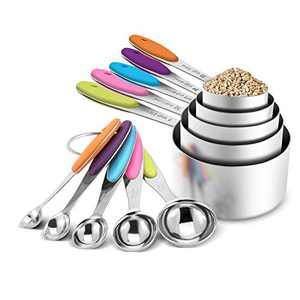 Measuring Cups and Measuring Spoons Set of 10 Piece,Stainless Steel Measuring Spoons with Soft Silicone Handles and Clearly Scale, Nesting Liquid Measuring Cup Set or Dry Measuring Cups Set(Colorful)