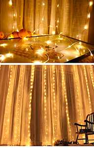 Curtain Lights 300 LED 9.8ft×9.8ft Led Curtain Lights for Bedroom IP44 Waterproof Light Curtain with Remote and Timer 8 Lighting Modes Wire Covered with PVC and Resin Glue