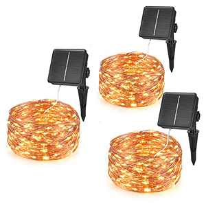 Solar Fairy Lights 3Pack-32.8ft 100LED IP65 Waterproof Outdoor Fairy Lights with 8 Lighting Modesfor Patio Garden Halloween Christmas Holiday Party(3 Pack)