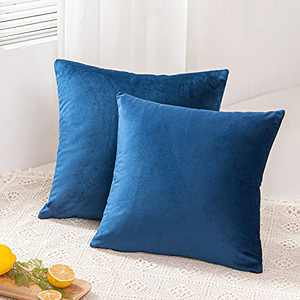 BAKUMON, 2 Pack 16x16 Velvet Pillow Covers Decorative Throw Cushion Cases Throw Pillow Covers Square Set for Couch Sofas Living Room Outdoors-Navy Blue