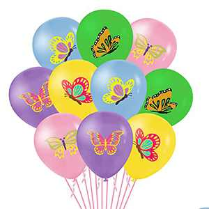 BeYumi 50Pcs Butterfly Themed Balloons, 12Inch Assorted Color Balloons Bouquet with Ribbons, Spring Summer Butterfly Themed Party Decorations for Birthday Wedding Bridal Garden Themed Baby Shower Décor