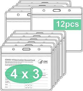 CDC Vaccine Card Protector 4 X 3 Inches Pack of 6, Immunization Record Vaccination Cards Holder, Clear Vinyl Plastic Sleeve with Waterproof Type Resealable Zip (Card Holder Only, 12 Pack)
