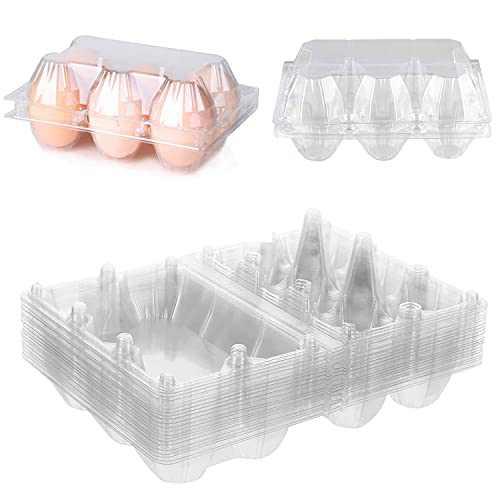 Plastic Egg Carton for 6 Eggs, LALASTAR Clear Egg Cartons Bulk, Reusable Chicken Egg Holder for Family, Chicken Farm, Grocery, 16 Packs