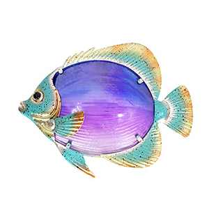 LIFFY Metal Fish Wall Decor Bathroom Glass Art Purple Hanging Home Decorations for Patio, Pool or Garden - 10 Inch