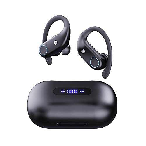 Soiedroo Comfortable Wearing Soft earhook Wireless Sport Earbuds Bluetooth V5.0 with IPX7 Waterproof HiFi Deep Bass Stereo Sound with Mic for Workout Running Gym