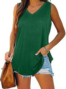 Womens Flowy Tank Tops Summer V Neck Casual Loose Fitting Sleevless Shirts Tee Tunic Cami Blouse Green