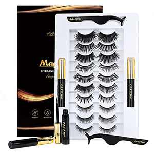Magnetic Eyelashes 3D Magnetic Eyeliner and Eyelashes Kit Natural Look Reusable Magnetic Lashes Kit Extension 10 Pairs with Tweezers No Glue Needed