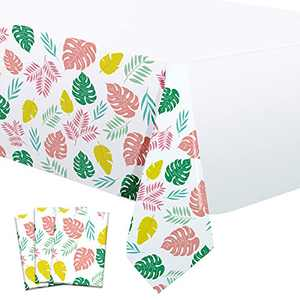 Dazonge Pack of 3 Hawaiian Luau Tablecloths for Party Decorations, Plastic Palm Leaf Table Covers 54''x110'', Luau Decorations for Tropical Birthday Parties, Aloha/Luau Baby Shower