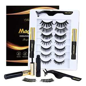 Magnetic Eyelashes 3D Magnetic Eyeliner and Eyelashes Kit Natural Look Reusable Magnetic Lashes Kit Extension 7 Pairs with Tweezers No Glue Needed