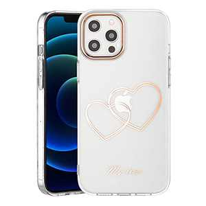 SPEVERT for iPhone 12 Pro Max Case Crystals Clear Luxury Glitter Cover for Women Girls Cute Anti-Yellowing Shockproof Durable Case Compatible with iPhone 12 Pro Max 6.7 inches - Rose Gold Heart C