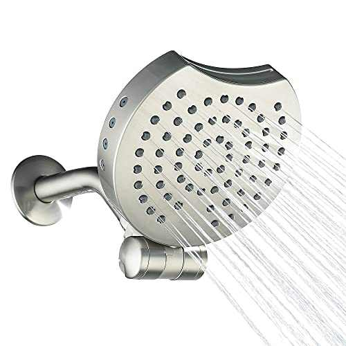 AMAZING FORCE Waterfall High Pressure Shower Head 4-Function, Fixed High Flow Shower Head with Shower Arm, Luxury Modern Adjustable Showerhead for Bathroom, 1.8GPM, ABS, Brushed Nickel