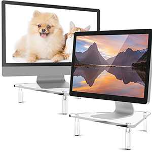 2 Pieces 10 mm Thickness Acrylic Monitor Desk Stand Acrylic Computer Monitor Riser with Screwdriver and Screws Clear Stylish Computer Stand Sturdy Platform for Computer Monitor and Laptop (Triangle)