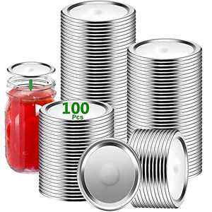 Canning Lids,JHWVVTF 100-Count Mason Jar Lid [Wide Mouth],Split-Type Simple Thickened Metal Seals Lids for Home Kitchen & Dining,Food Grade Material (Canning Lids WIDE Mouth) (Silver, 100)
