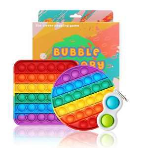 Halafs Push pop Bubble Fidget Sensory Toys, Rainbow pop it Fidget Sensory Toy, Anxiety Stress Reliever Autism Learning Materials for Adults Children (Circle+Square+Mini Fidget Toys)