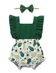 Shalofer Baby Girls Romper Infant Summer Jumpsuit Backless Bodysuit (Green,6-12 Months)