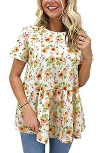 Hibluco Women's Summer Top Short Sleeve Round Neck Floral Print Swing Tunic Blouse