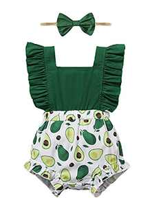 Shalofer Baby Girls Romper Infant Summer Jumpsuit Backless Bodysuit (Green,3-6 Months)