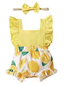 Shalofer Baby Girls Romper Infant Summer Jumpsuit Backless Bodysuit (Yellow,12-18 Months)