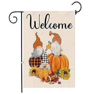 pinata Garden Flags Fall Autumn, Gnome Welcome Fall Flags Garden 12 x 18 Double Sided, Orange Buffalo Plaid Pumpkins Burlap Yard Flag, Fall Garden Flag Football Sunflower Maple Leaves Signs Outdoor