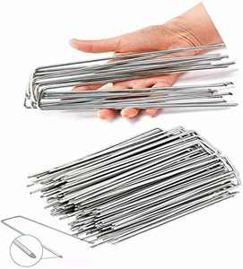 Garden Stakes 8 inches for Greenhouse Plants U-Shaped Landscape Staples for Weeds Garden Post for Installation of Artificial Turf Landscape Post for Fix Ground Covers Fabrics (8inch, 20PCS)