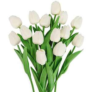 Beferr 14 Pcs Artificial Flowers Tulips, Decorative Fake Tulips Bouquet for Home Garden Wedding Party Indoor Outdoor Decoration (Milk White)
