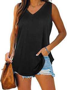 Cysincos Womens Summer V Neck Tank Tops Casual Sleeveless Shirts Loose Tunic Tee Black