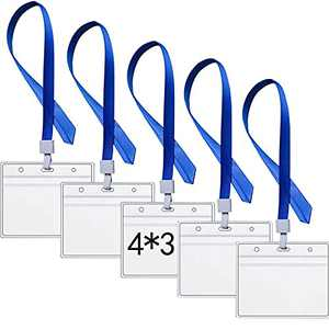 5 Pack Vaccination Card Protector 4×3 in Vaccine Card Holder w 5 Lanyard Slots, Immunization Card Holders w Waterproof Type Resealable Zip (B)