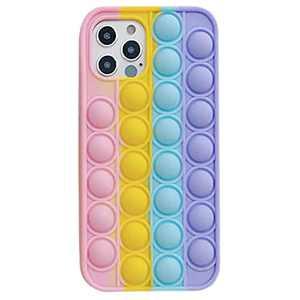 Fidget Phone Case, Tomisoy Fidget Toys Push Pop Bubble Protecive Case for iPhone7,8,7P,8P,X,XS,XS Max,XR,11,11pro,11Pro Max,12,12Pro,12Pro Max,12mini (for iPhone 11, Rainbow)
