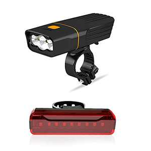 NiCuZnGa Bike Light Set Rechargeable - Bicycle Light Set Front and Back Reflector Lights Super Bright Headlight LED Taillight for Night Riding Cycling MTB with 2600mAh Power Bank Function