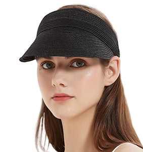 Bellivera Sun Hat Women Straw Visor Hat, Wide Brim Sun Hats for Women UV Protection, Packable Beach Sunhat, Foldable Roll-up Woven Summer Sun Cap Top Open 2004 Black