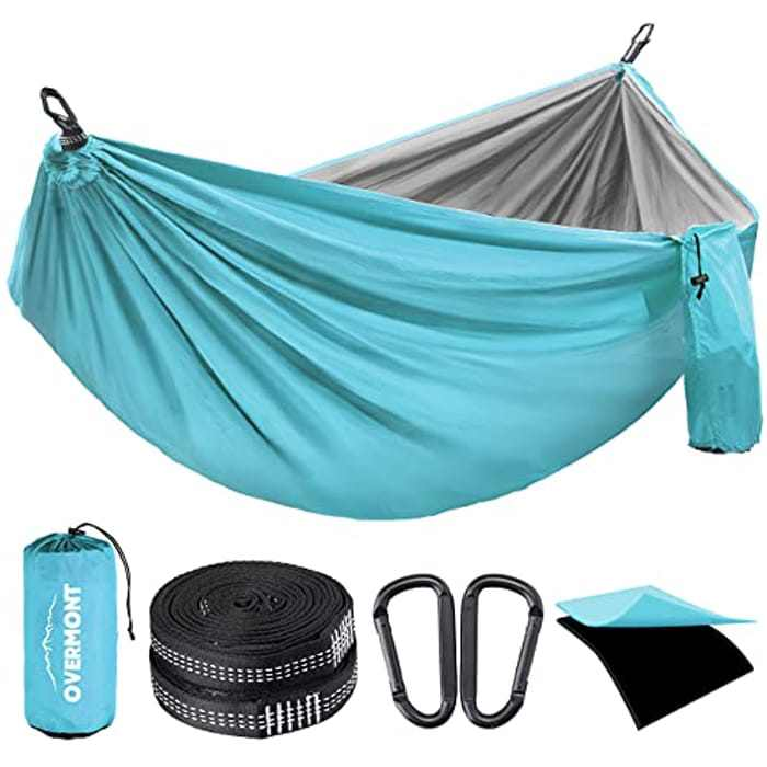 Overmont Double Layers Camping Hammock German TUV Certificated Portable Outdoor Hammock Lightweight for Backpacking Hiking Sports Travel with Tree Straps (Blue+grey, 270x140cm)