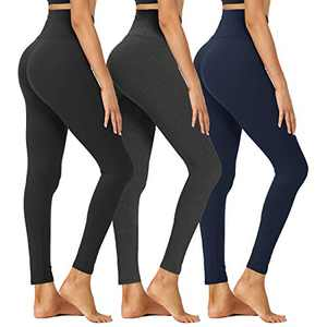 HIGHDAYS High Waisted Leggings for Women - Tummy Control 4 Way Stretch Pants for Athletic Workout Yoga (Black, Navy Blue, Charcoal Grey, XX-Large)