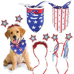 2 Pieces American Flag Dog Bandanas Pet Triangle Scarf and 2 Pieces Dog Headbands 4th of July Dog Bibs Kerchief Patriotic Pet Headband Independence Day Pet Costume Accessories for Medium Large Dog Pet