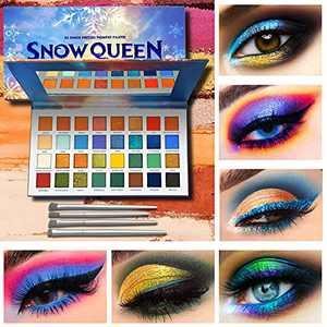 Snow Romance Makeup Eyeshadow Palette + 4 PCS Eye Brushes Makeup Set 32 Colors Waterproof Matte And Shimmers Eye Shadow Plattet High Pigmented Gift Set Make Up Pallet