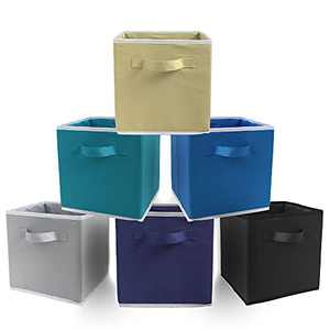 """BeeGreen 6 Pack Storage Cubes Foldable Storage Bin Organizer Bins 10.2""""x 10.2"""" x 10.6"""" for Home,Offices,Shelves,Cubby,Closet 