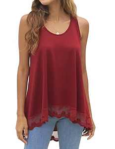 Hymuses Women's Sleeveless Tops O-Neck A Line Tunic Blouse Swing Lace Flowy Top with Scalloped Lace Hemline Wine Red XXLarge