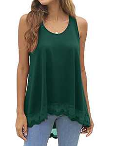 Hymuses Women's Sleeveless Tops O-Neck A Line Tunic Blouse Swing Lace Flowy Top with Scalloped Lace Hemline Green Medium