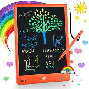 GKTZ LCD Writing Tablet for Kids, Colorful Toddler Doodle Board 10 Inch, Girls Toys Drawing Tablet Writing Pad, Learning & Education Toys Birthday Gifts for 3 4 5 6 7 8 year old kids boys girls-Orange