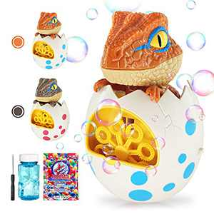 heytech Bubble Machine Dinosaur Bubble Bubble Machine for Kids Toddlers Boys Girls Baby Bath Toys Indoor Outdoor Automatic Bubble Maker (Orange)